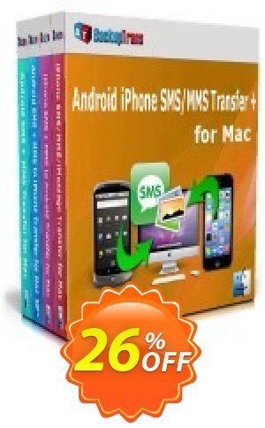 Backuptrans Android iPhone SMS/MMS Transfer + for Mac (Family Edition) Coupon BOX