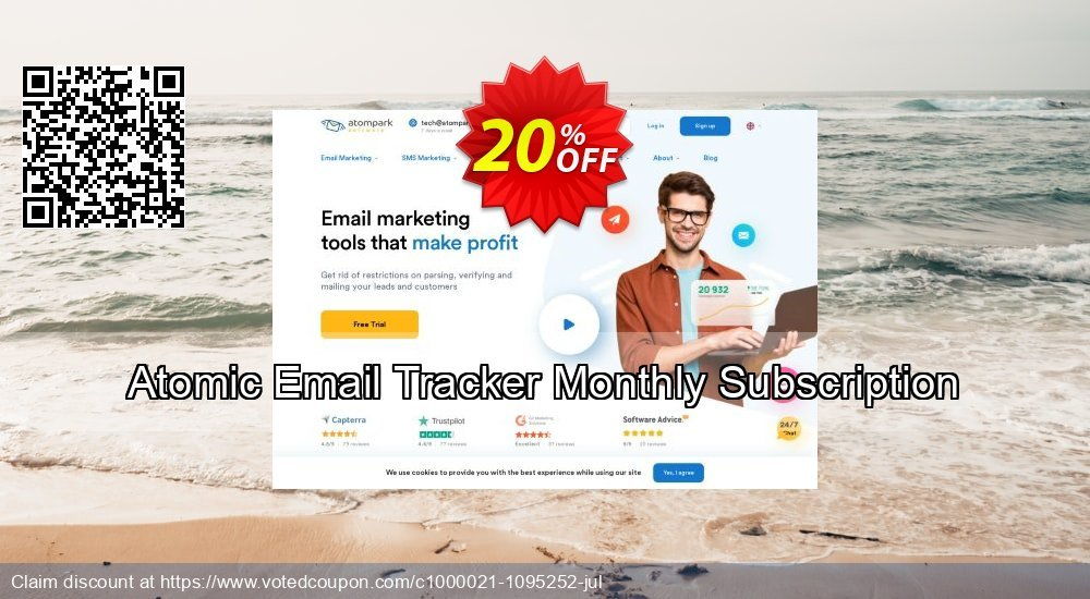 Get 20% OFF Atomic Email Tracker Monthly Subscription offering deals