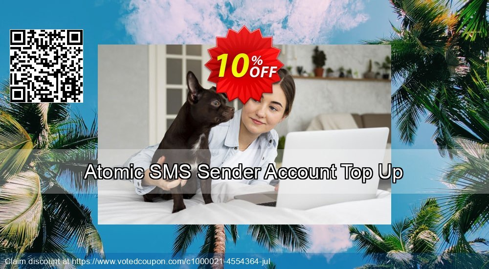 Get 10% OFF Atomic SMS Sender Account Top Up offering sales