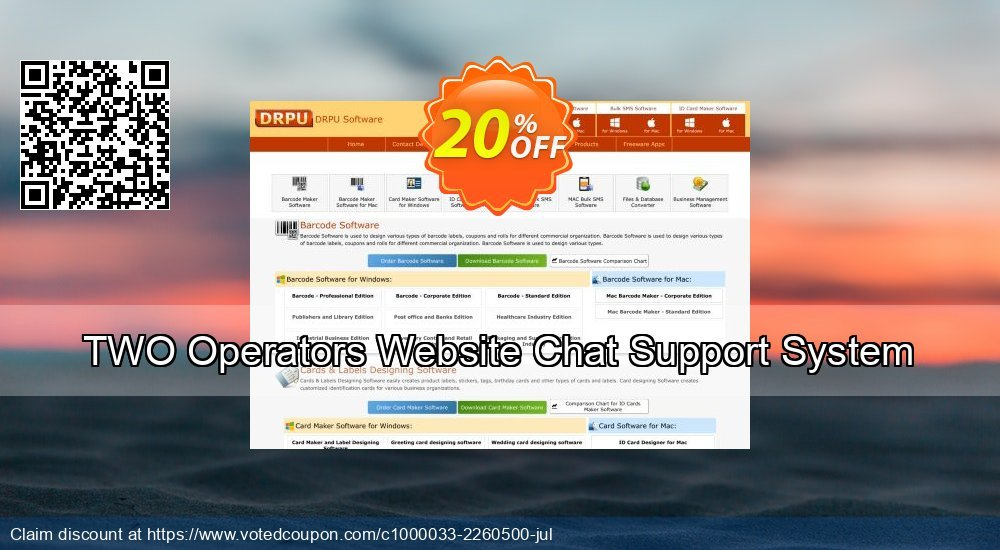 Get 20% OFF TWO Operators Website Chat Support System offering sales