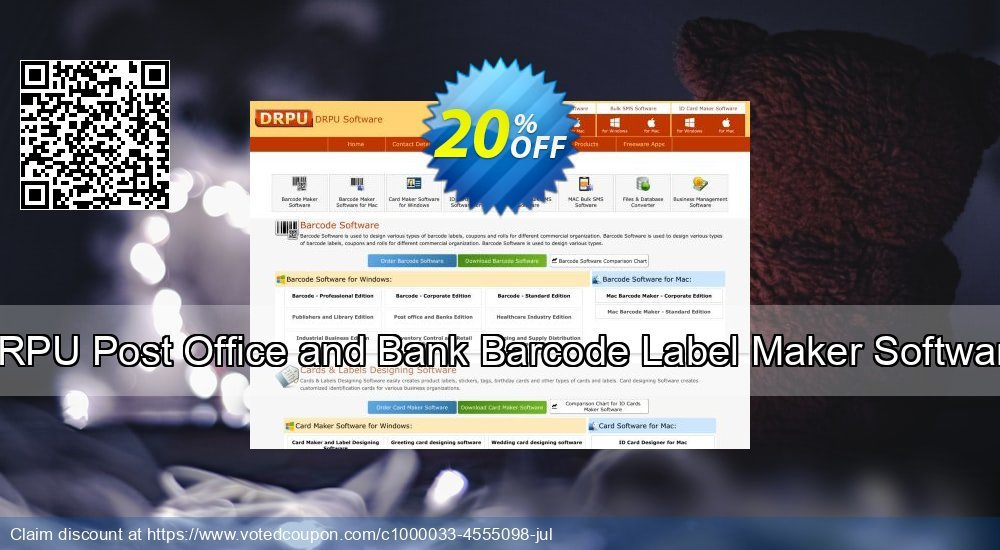 Get 20% OFF DRPU Post Office and Bank Barcode Label Maker Software deals