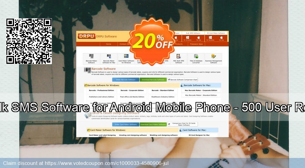 Get 20% OFF DRPU Mac Bulk SMS Software for Android Mobile Phone - 500 User Reseller License offering deals