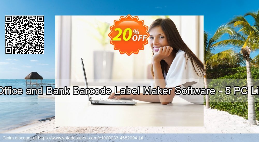 Get 20% OFF Post Office and Bank Barcode Label Maker Software - 5 PC License offering sales