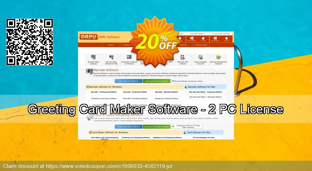 Get 20% OFF Greeting Card Maker Software - 2 PC License discount
