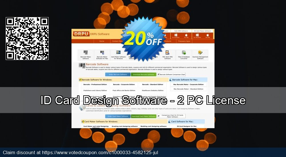 Get 20% OFF ID Card Design Software - 2 PC License promo sales