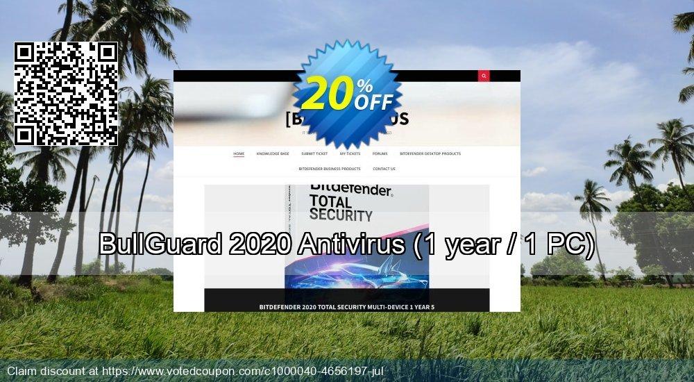 Get 20% OFF BullGuard 2018 Antivirus - 1 year / 1 PC offering sales