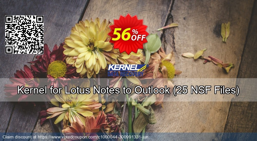 Get 56% OFF Kernel for Lotus Notes to Outlook, 25 NSF Files Coupon