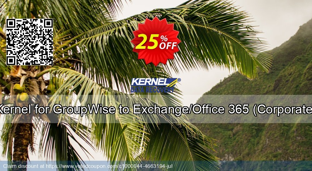 Get 10% OFF Kernel for GroupWise to Exchange ( License for (1- 200) Mailboxes ) discount
