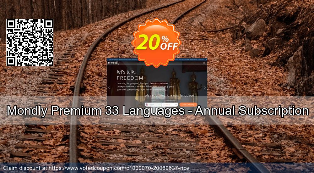 Get 94% OFF Mondly Premium 33 Languages - Annual Subscription offering deals