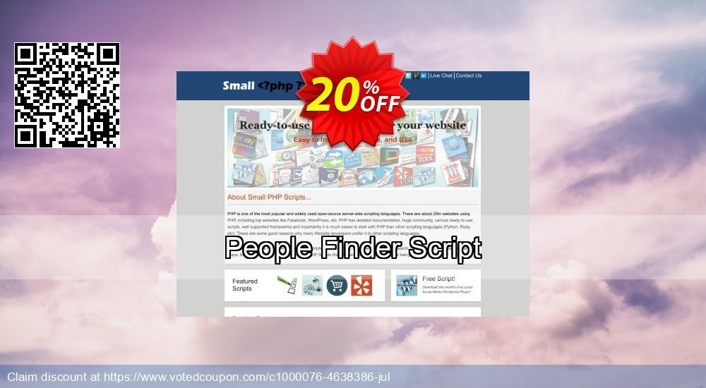 Get 10% OFF People Finder Script offering sales