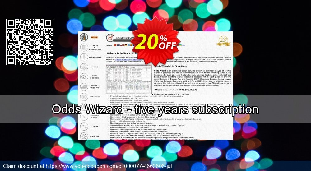 Get 10% OFF Odds Wizard - five years subscription promotions