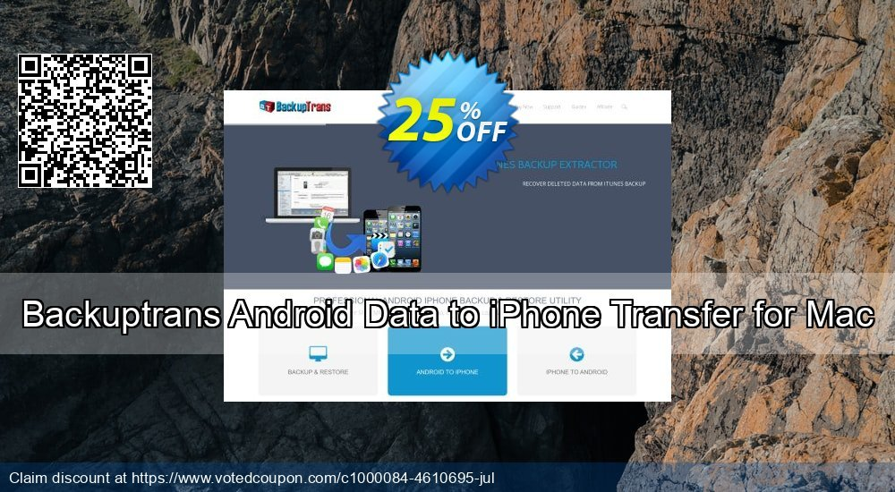 Get 10% OFF Backuptrans Android Data to iPhone Transfer for Mac (Personal Edition) promo sales
