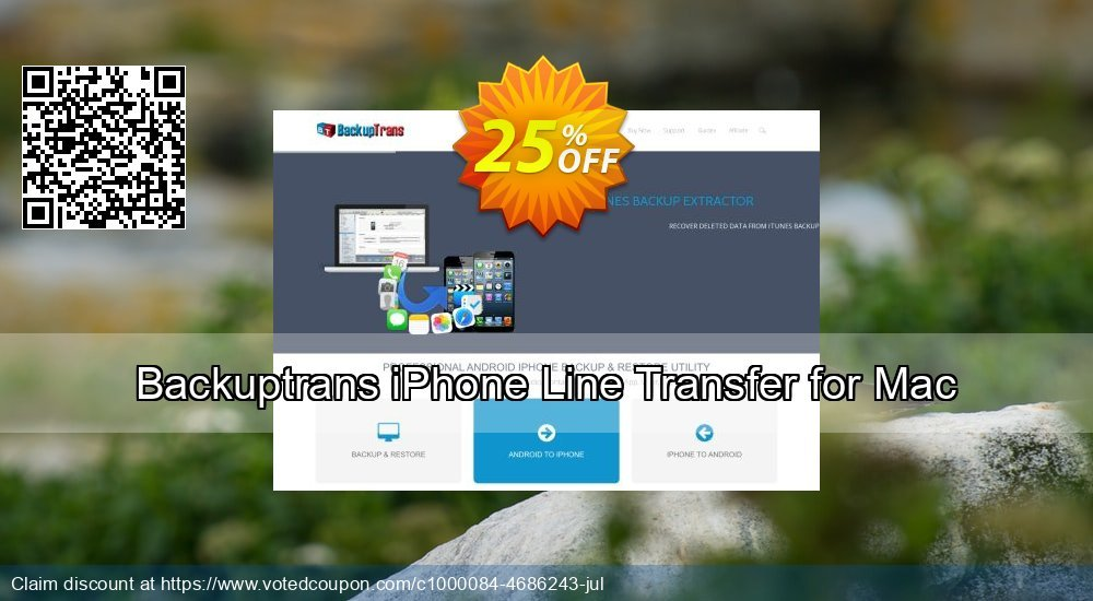 Get 10% OFF Backuptrans iPhone Line Transfer for Mac (Personal Edition) offering sales