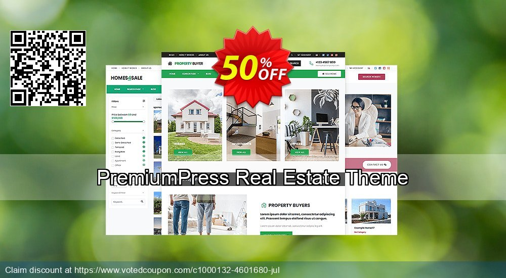 Get 75% OFF PremiumPress Responsive Real Estate Theme offering sales
