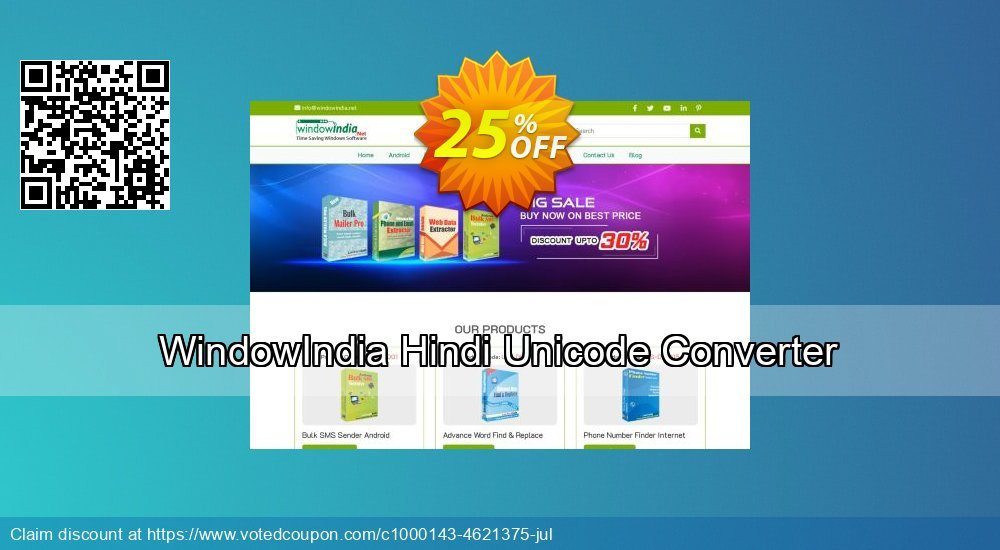 Get 25% OFF WindowIndia Hindi Unicode Converter offering sales