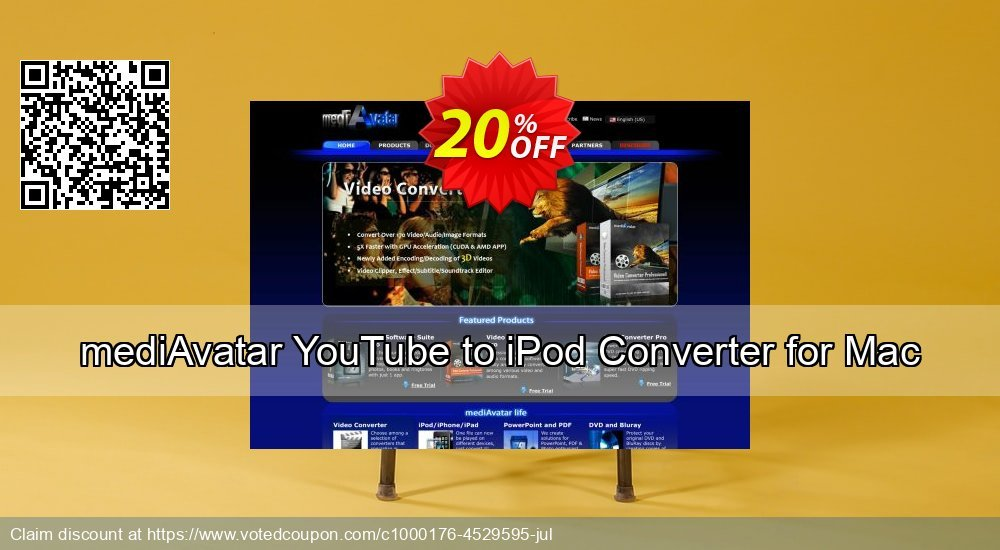Get 20% OFF mediAvatar YouTube to iPod Converter for Mac offering sales
