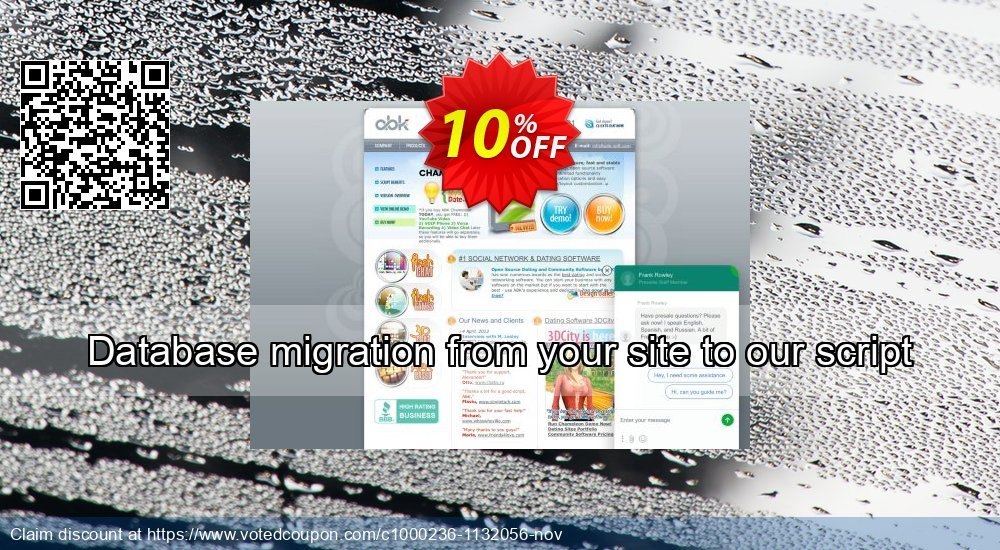 Get 10% OFF Database migration from your site to our script discount