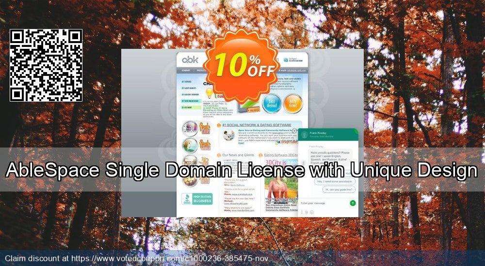 Get 10% OFF AbleSpace Single Domain License with Unique Design promo sales