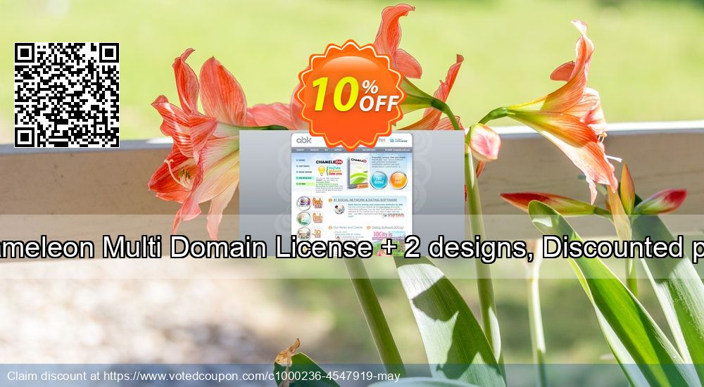 Get 10% OFF Chameleon Multi Domain License + 2 designs, Discounted price promo sales
