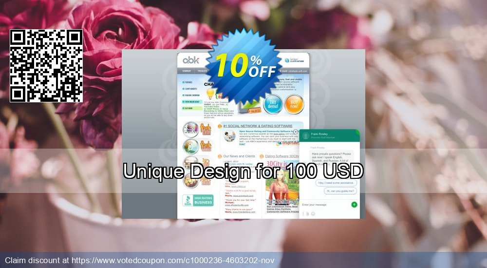 Get 10% OFF Unique Design for 100 USD discount