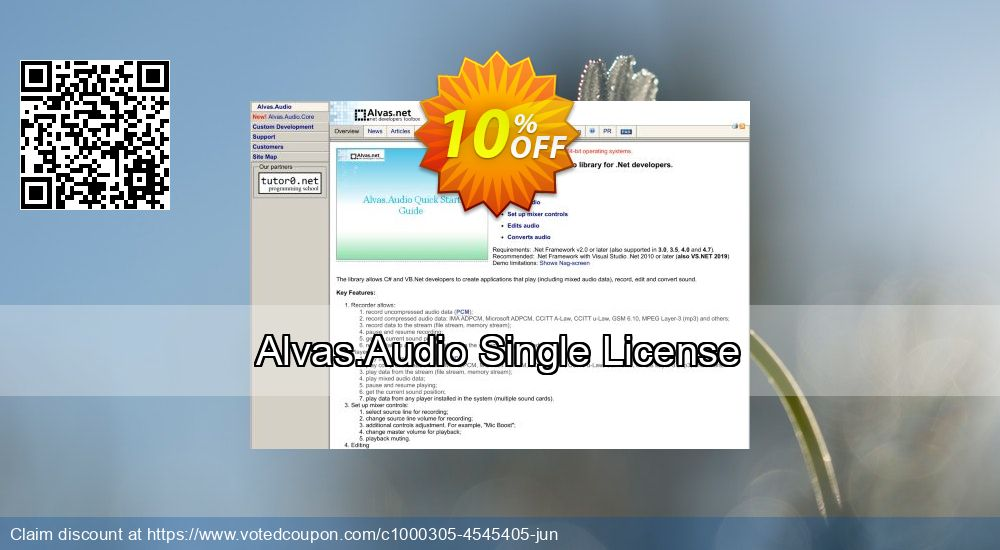 Get 10% OFF Alvas.Audio Single License offering sales