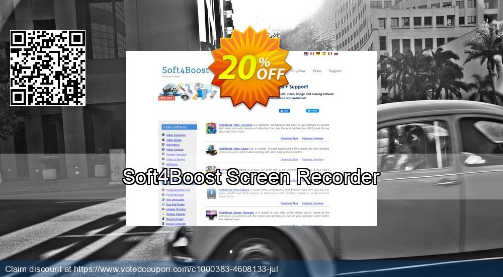 Get 20% OFF Soft4Boost Screen Recorder offering sales
