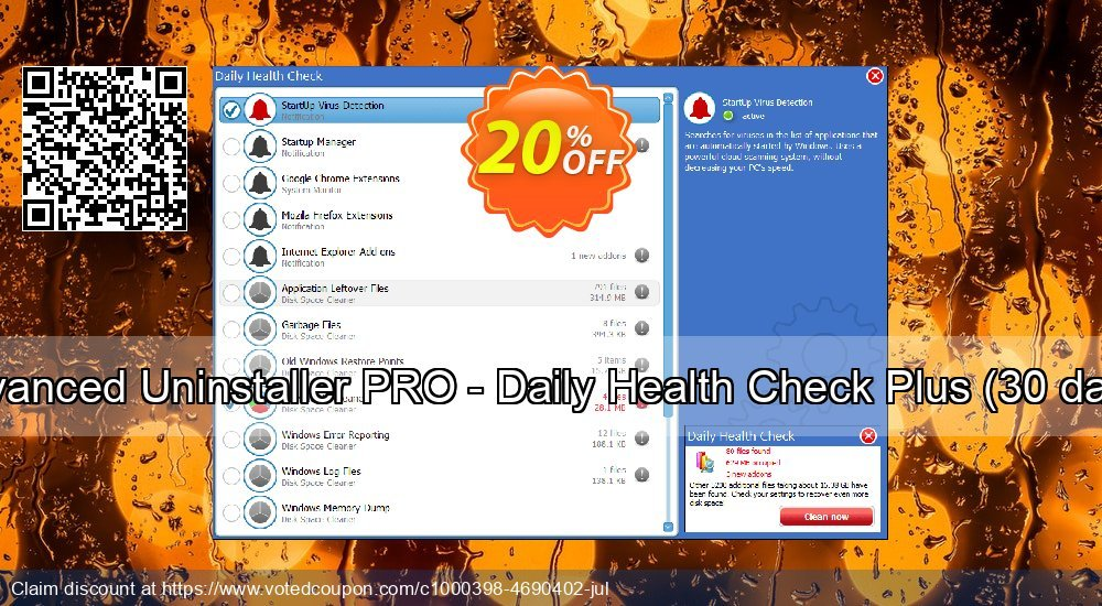 Get 20% OFF Advanced Uninstaller PRO - Daily Health Check Plus (30 days) promo