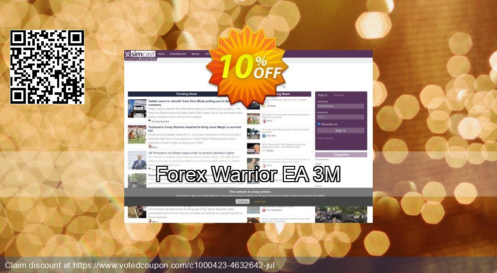 Get 10% OFF Forex Warrior EA 3M promo sales
