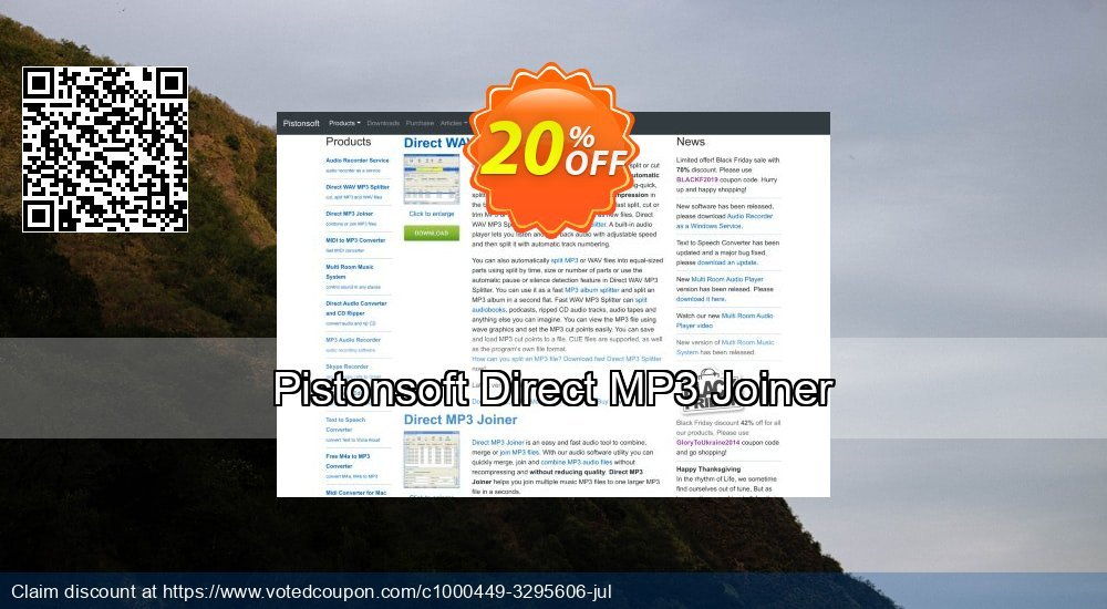 Get 20% OFF Pistonsoft Direct MP3 Joiner deals
