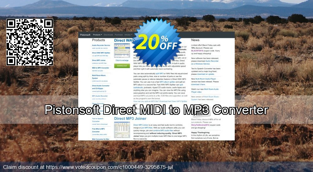 Get 20% OFF Pistonsoft Direct MIDI to MP3 Converter discount