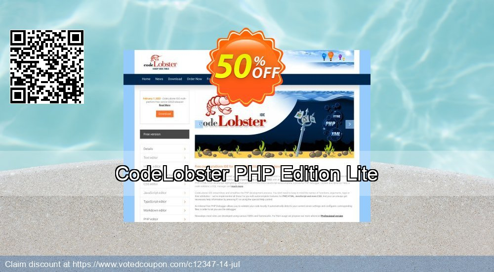 Get 50% OFF CodeLobster PHP Edition Lite offer