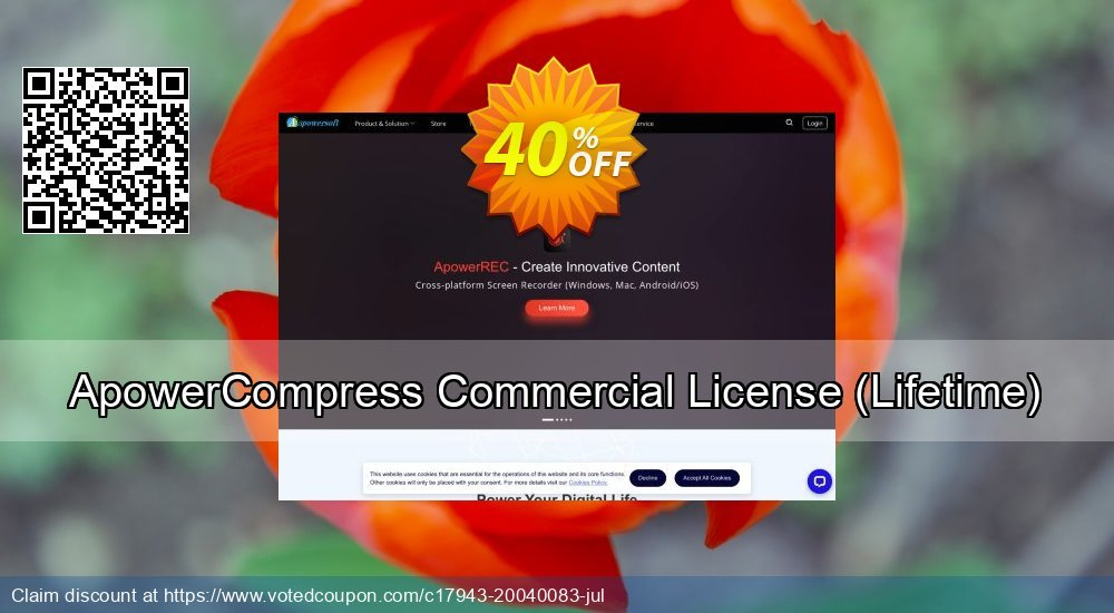 Get 30% OFF ApowerCompress Commercial License (Lifetime) offering sales