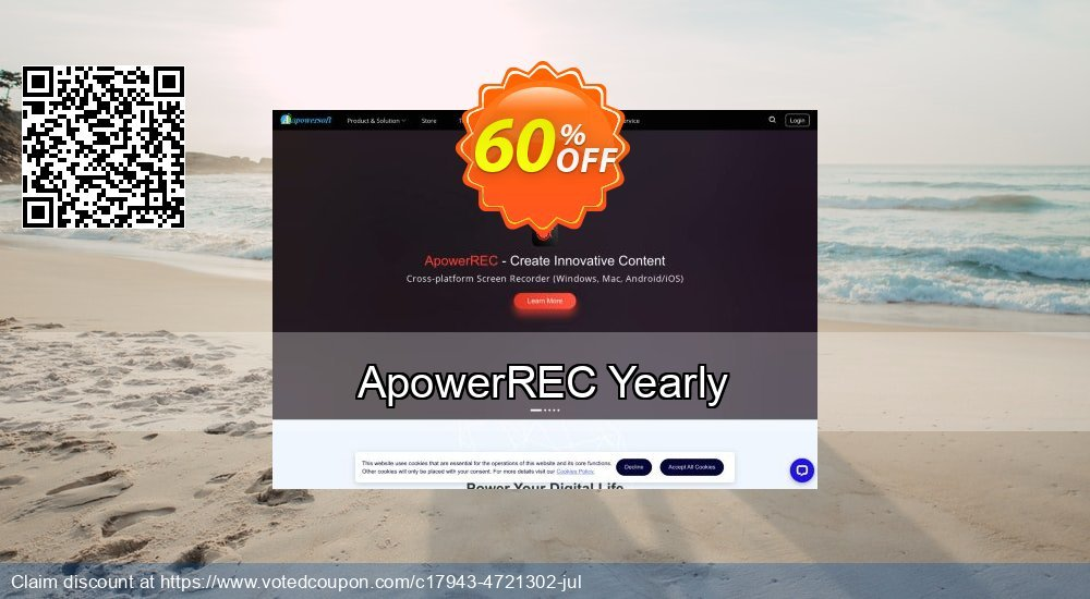 Get 57% OFF ApowerREC Yearly offering sales
