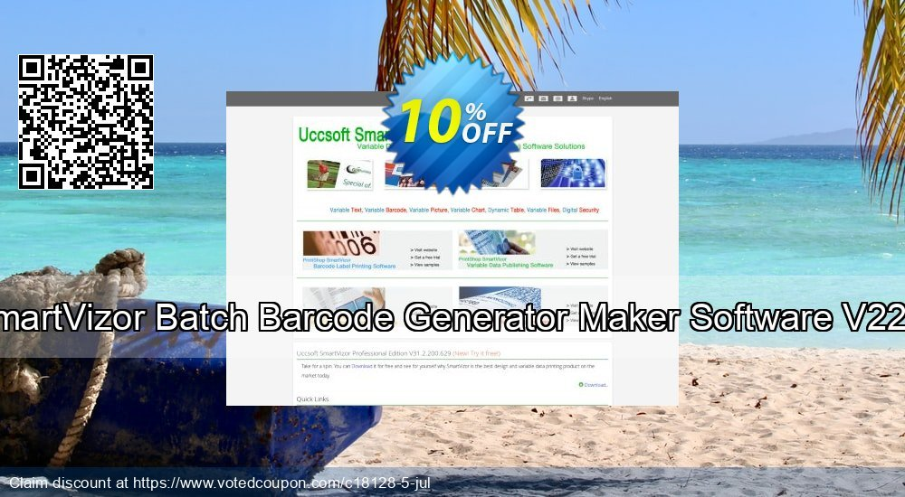 Get 10% OFF SmartVizor Batch Barcode Generator Maker Software V22.0 offering sales