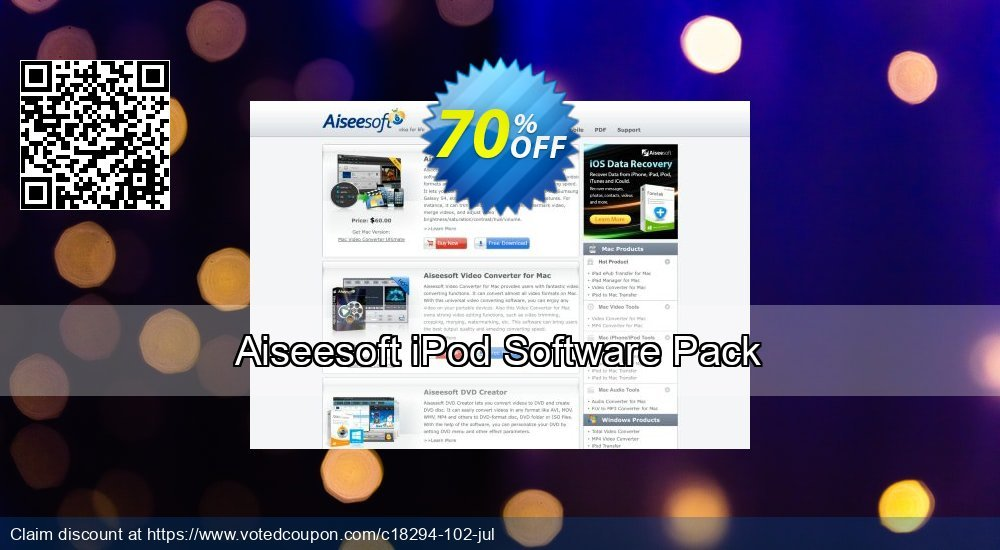 Get 40% OFF Aiseesoft iPod Software Pack offering sales