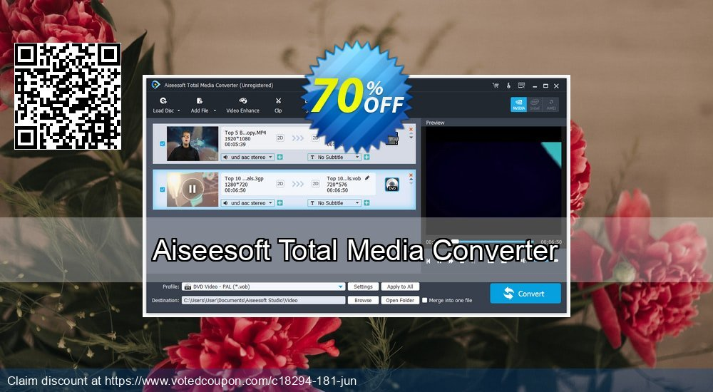 Get 40% OFF Aiseesoft Total Media Converter offering sales