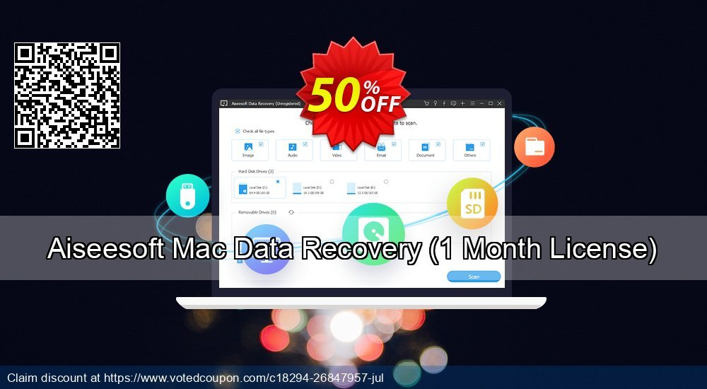 Get 53% OFF Aiseesoft Mac Data Recovery, 1 Month License Coupon