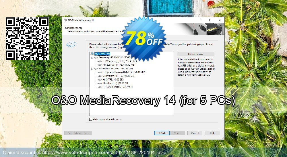 Get 61% OFF O&O MediaRecovery, 5 PCs Coupon