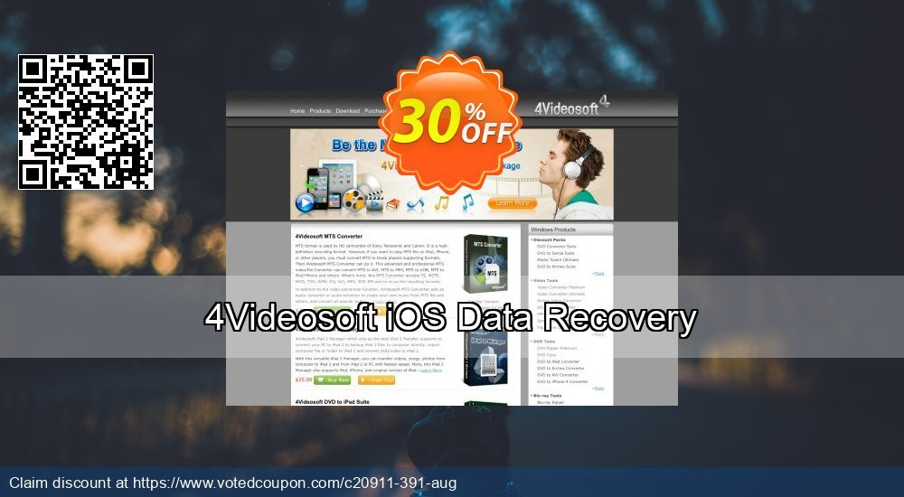 Get 30% OFF 4Videosoft iOS Data Recovery Coupon