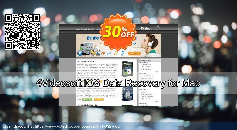 Get 30% OFF 4Videosoft iOS Data Recovery for Mac Coupon