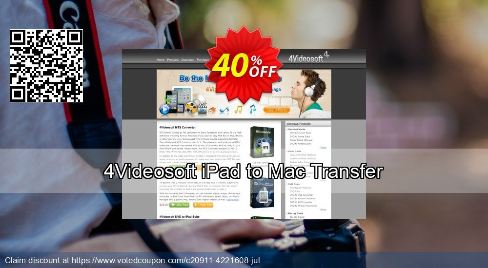 Get 40% OFF 4Videosoft iPad to Mac Transfer offering sales