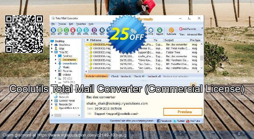 Get 25% OFF Coolutils Total Mail Converter, Commercial License Coupon