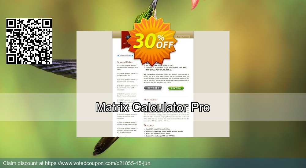 Get 30% OFF Matrix Calculator Pro promo sales
