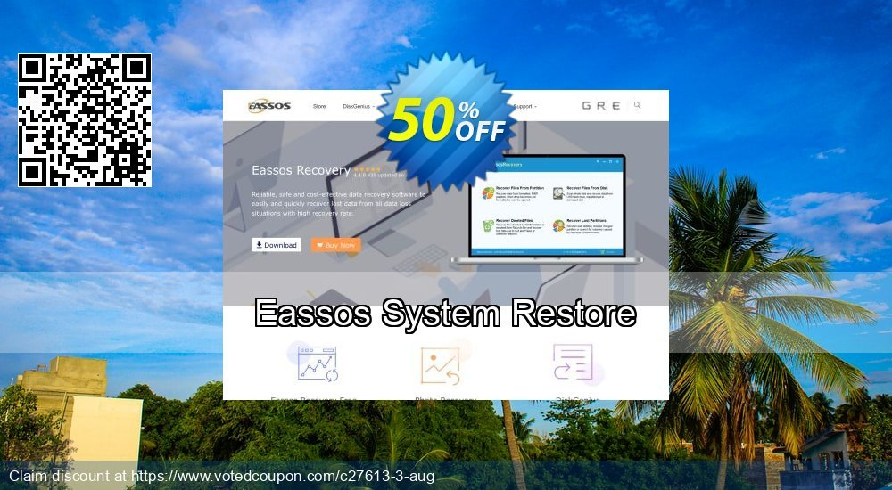 50% OFF Eassos System Restore Coupon code on July 4th promotions, July 2019