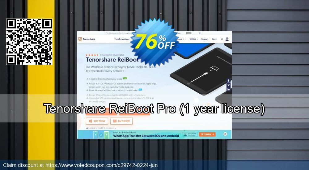 Get 76% OFF Tenorshare ReiBoot Pro, 1 year license Coupon