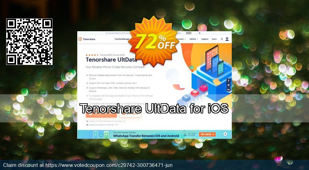 Get 72% OFF Tenorshare UltData for iOS Coupon