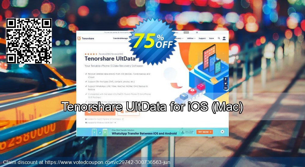 Get 75% OFF Tenorshare UltData for iOS, Mac Coupon