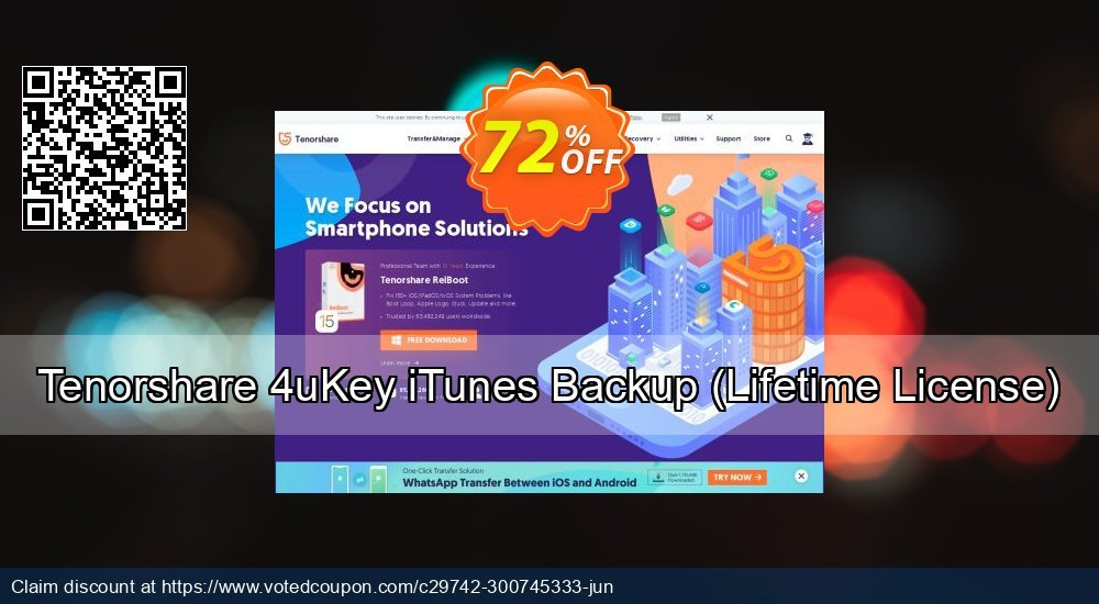 Get 72% OFF Tenorshare 4uKey iTunes Backup, Lifetime License Coupon