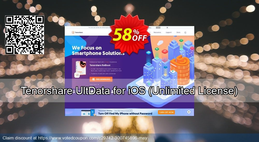 Get 58% OFF Tenorshare UltData for iOS, Unlimited License Coupon