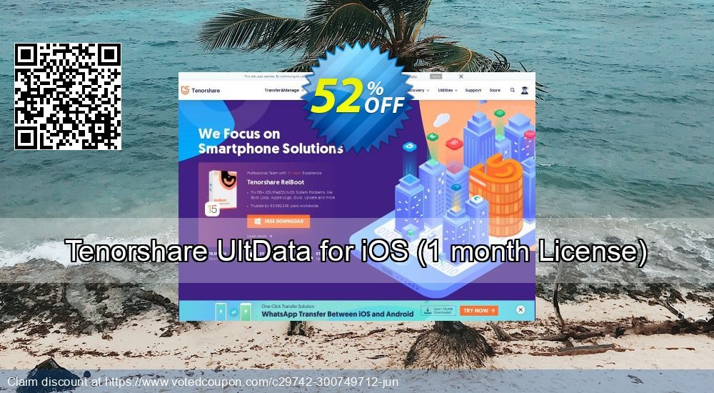 Get 53% OFF Tenorshare UltData for iOS, 1 month License Coupon